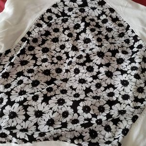 Open front cardigan with flower back detail